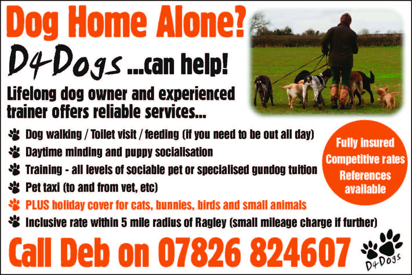 D4Dogs training and walking alcester warwickshire
