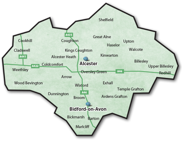 Alcester Villages Map